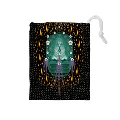 Temple Of Yoga In Light Peace And Human Namaste Style Drawstring Pouches (medium)  by pepitasart