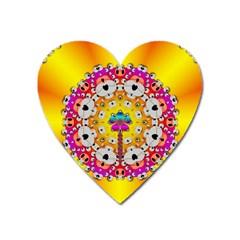 Fantasy Flower In Tones Heart Magnet by pepitasart