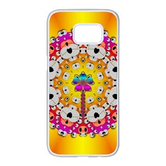 Fantasy Flower In Tones Samsung Galaxy S7 Edge White Seamless Case by pepitasart