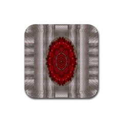 Strawberry  With Waffles And Fantasy Flowers In Harmony Rubber Coaster (square)  by pepitasart