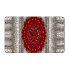 Strawberry  With Waffles And Fantasy Flowers In Harmony Magnet (rectangular) by pepitasart