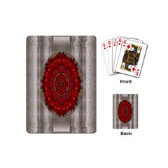 Strawberry  With Waffles And Fantasy Flowers In Harmony Playing Cards (mini)  by pepitasart