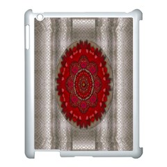 Strawberry  With Waffles And Fantasy Flowers In Harmony Apple Ipad 3/4 Case (white) by pepitasart
