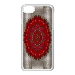 Strawberry  With Waffles And Fantasy Flowers In Harmony Apple Iphone 7 Seamless Case (white) by pepitasart