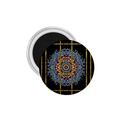 Blue Bloom Golden And Metal 1 75  Magnets by pepitasart