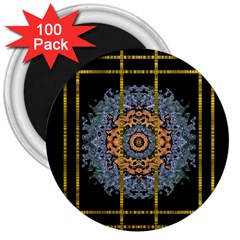 Blue Bloom Golden And Metal 3  Magnets (100 Pack) by pepitasart