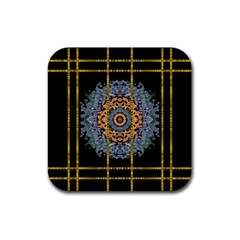 Blue Bloom Golden And Metal Rubber Square Coaster (4 Pack)  by pepitasart