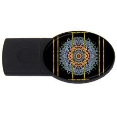 Blue Bloom Golden And Metal Usb Flash Drive Oval (4 Gb) by pepitasart