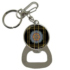 Blue Bloom Golden And Metal Bottle Opener Key Chains by pepitasart