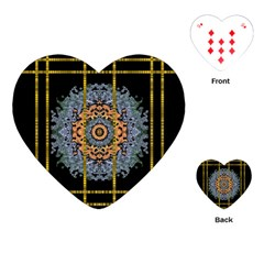 Blue Bloom Golden And Metal Playing Cards (heart)  by pepitasart