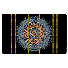 Blue Bloom Golden And Metal Apple Ipad 2 Flip Case by pepitasart