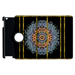 Blue Bloom Golden And Metal Apple Ipad 3/4 Flip 360 Case by pepitasart