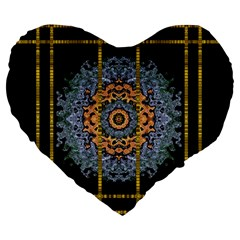 Blue Bloom Golden And Metal Large 19  Premium Heart Shape Cushions by pepitasart