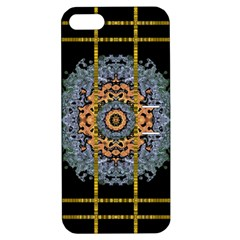 Blue Bloom Golden And Metal Apple Iphone 5 Hardshell Case With Stand by pepitasart