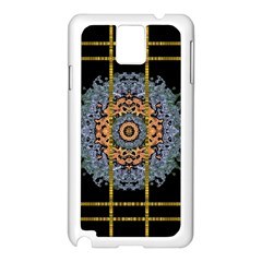 Blue Bloom Golden And Metal Samsung Galaxy Note 3 N9005 Case (white) by pepitasart