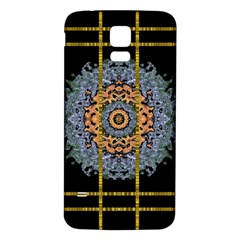 Blue Bloom Golden And Metal Samsung Galaxy S5 Back Case (white) by pepitasart
