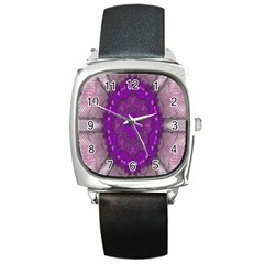 Fantasy Flowers In Harmony  In Lilac Square Metal Watch by pepitasart