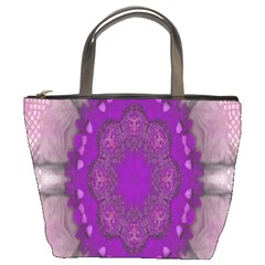 Fantasy Flowers In Harmony  In Lilac Bucket Bags by pepitasart