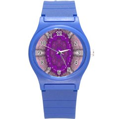 Fantasy Flowers In Harmony  In Lilac Round Plastic Sport Watch (s) by pepitasart