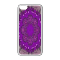Fantasy Flowers In Harmony  In Lilac Apple Iphone 5c Seamless Case (white) by pepitasart