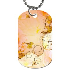 Wonderful Floral Design In Soft Colors Dog Tag (two Sides) by FantasyWorld7