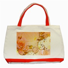 Wonderful Floral Design In Soft Colors Classic Tote Bag (red) by FantasyWorld7
