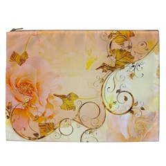 Wonderful Floral Design In Soft Colors Cosmetic Bag (xxl)  by FantasyWorld7