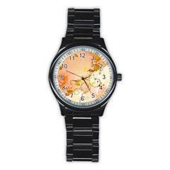 Wonderful Floral Design In Soft Colors Stainless Steel Round Watch by FantasyWorld7