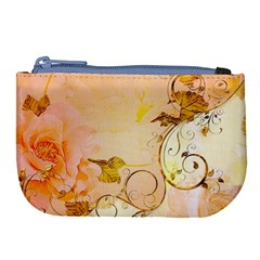 Wonderful Floral Design In Soft Colors Large Coin Purse by FantasyWorld7