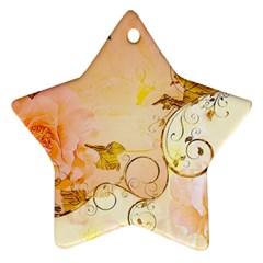 Wonderful Floral Design In Soft Colors Ornament (star) by FantasyWorld7