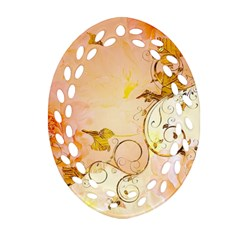 Wonderful Floral Design In Soft Colors Oval Filigree Ornament (two Sides)