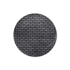 Brick1 Black Marble & Gray Leather (r) Rubber Round Coaster (4 Pack)
