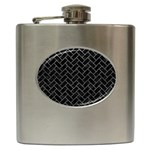 BRICK2 BLACK MARBLE & GRAY LEATHER Hip Flask (6 oz) Front