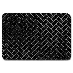 Brick2 Black Marble & Gray Leather Large Doormat  by trendistuff