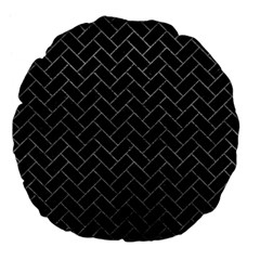 Brick2 Black Marble & Gray Leather Large 18  Premium Flano Round Cushions by trendistuff