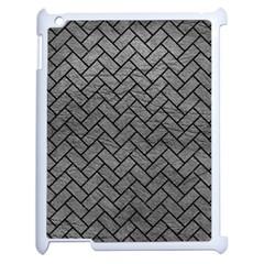 Brick2 Black Marble & Gray Leather (r) Apple Ipad 2 Case (white) by trendistuff