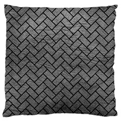 Brick2 Black Marble & Gray Leather (r) Large Cushion Case (one Side) by trendistuff