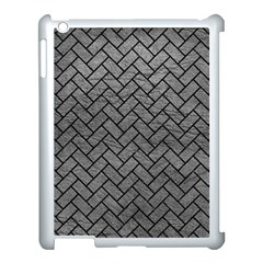 Brick2 Black Marble & Gray Leather (r) Apple Ipad 3/4 Case (white) by trendistuff