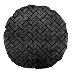 Brick2 Black Marble & Gray Leather (r) Large 18  Premium Flano Round Cushions by trendistuff