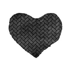 Brick2 Black Marble & Gray Leather (r) Standard 16  Premium Flano Heart Shape Cushions by trendistuff