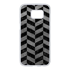 Chevron1 Black Marble & Gray Leather Samsung Galaxy S7 Edge White Seamless Case by trendistuff