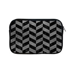 Chevron1 Black Marble & Gray Leather Apple Macbook Pro 13  Zipper Case by trendistuff