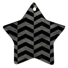 Chevron2 Black Marble & Gray Leather Star Ornament (two Sides) by trendistuff