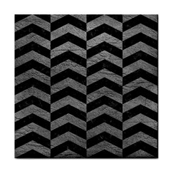 Chevron2 Black Marble & Gray Leather Face Towel