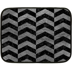 Chevron2 Black Marble & Gray Leather Fleece Blanket (mini)