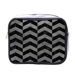 Chevron2 Black Marble & Gray Leather Mini Toiletries Bags by trendistuff