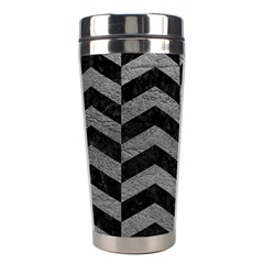 Chevron2 Black Marble & Gray Leather Stainless Steel Travel Tumblers by trendistuff