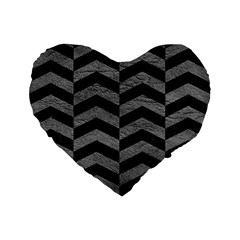 Chevron2 Black Marble & Gray Leather Standard 16  Premium Flano Heart Shape Cushions by trendistuff