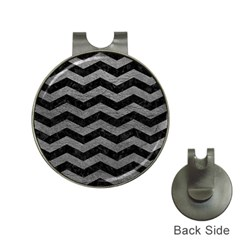 Chevron3 Black Marble & Gray Leather Hat Clips With Golf Markers by trendistuff