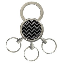 Chevron9 Black Marble & Gray Leather 3 Ring Key Chains by trendistuff